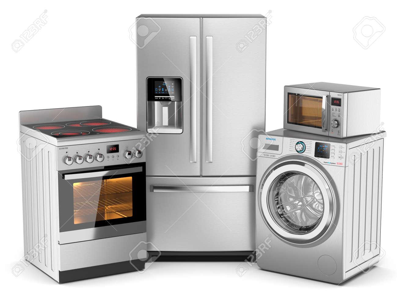 Kühlschrank Silber : Haushaltsgeräte gruppe von silber kühlschrank waschmaschine