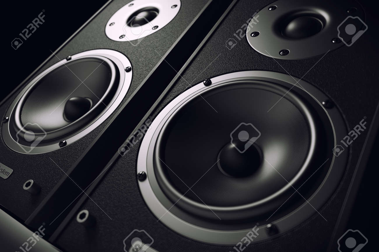 Sound speakers close-up. Audio stereo system. 3d - 50024314