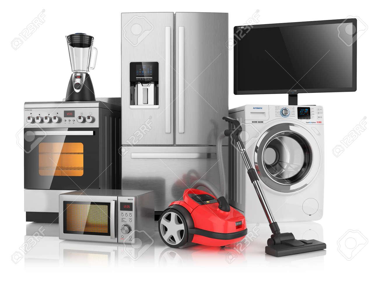 Electrodomesticos De Cocina | Conjunto De Los Electrodomesticos De Cocina Aislado En Fondo