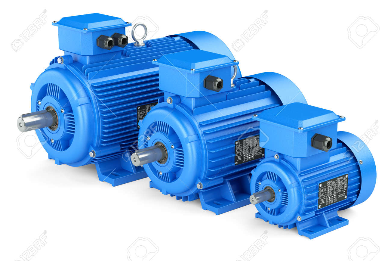 Group of blue electric industrial motors. Isolated on white background 3d - 57126030