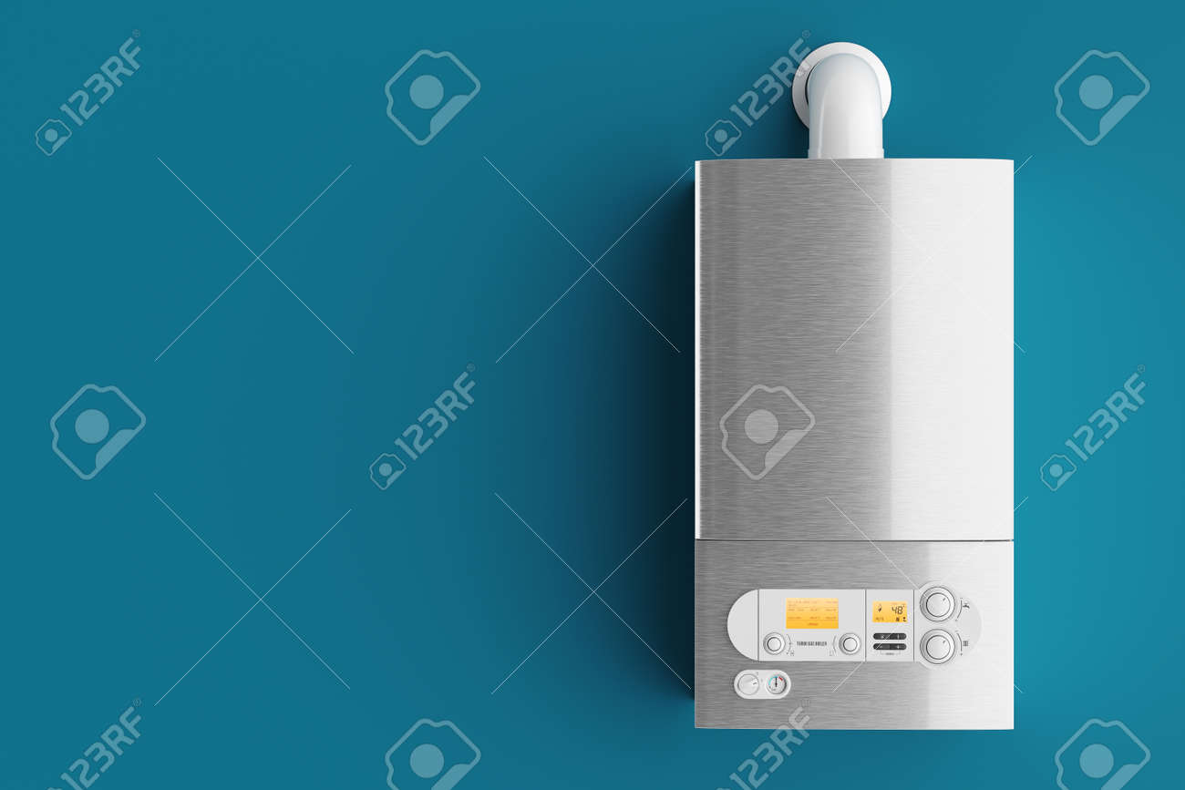 Household Gas Boiler On Blue Background 3d Illustration Stock Photo ...