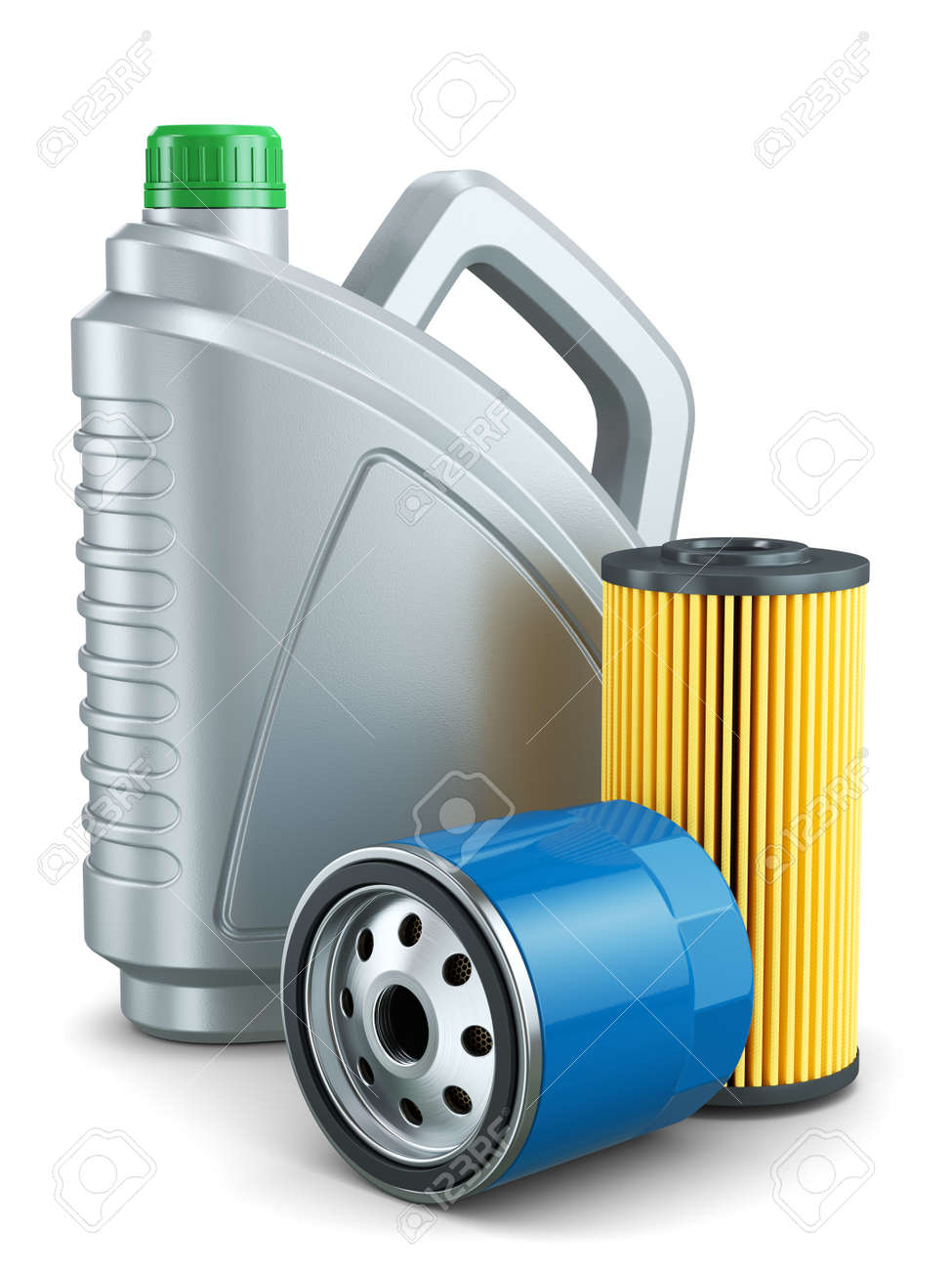 Car oil filters and motor oil plastic can isolated on white background 3d - 79945338