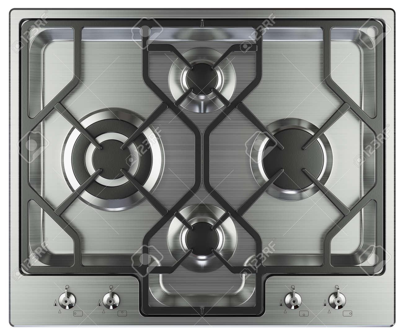 Kitchen stove top view. Isolated on white background 3d