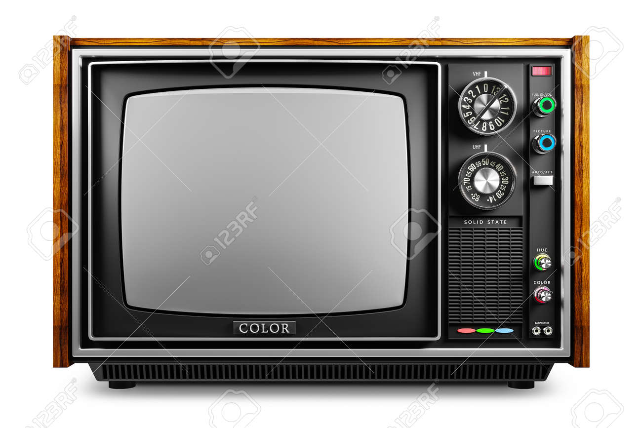 An old TV with a monochrome kinescope isolated on white background 3d - 107750052