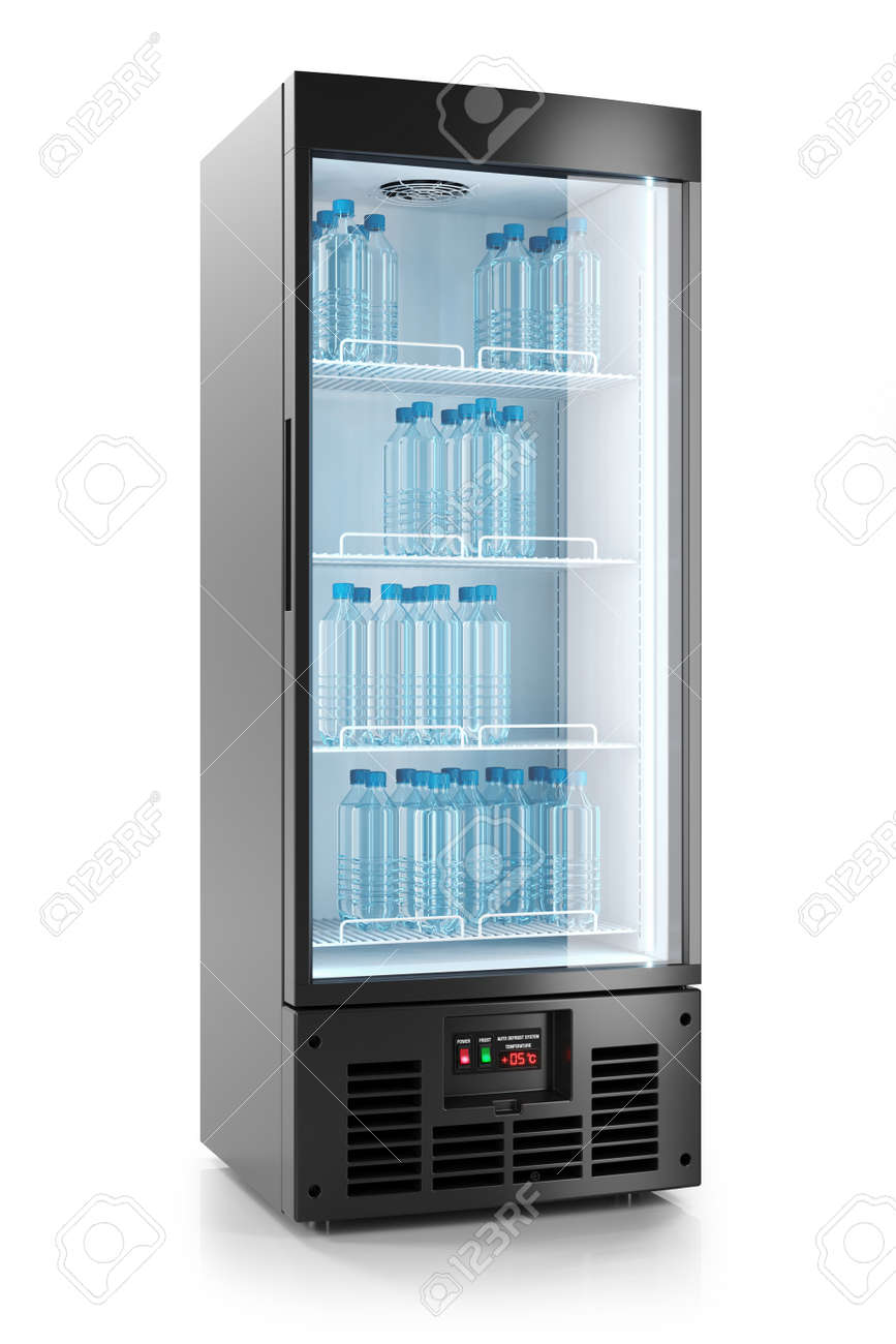 Upright Refrigerated Cabinet With Glass Door Water Bottles On