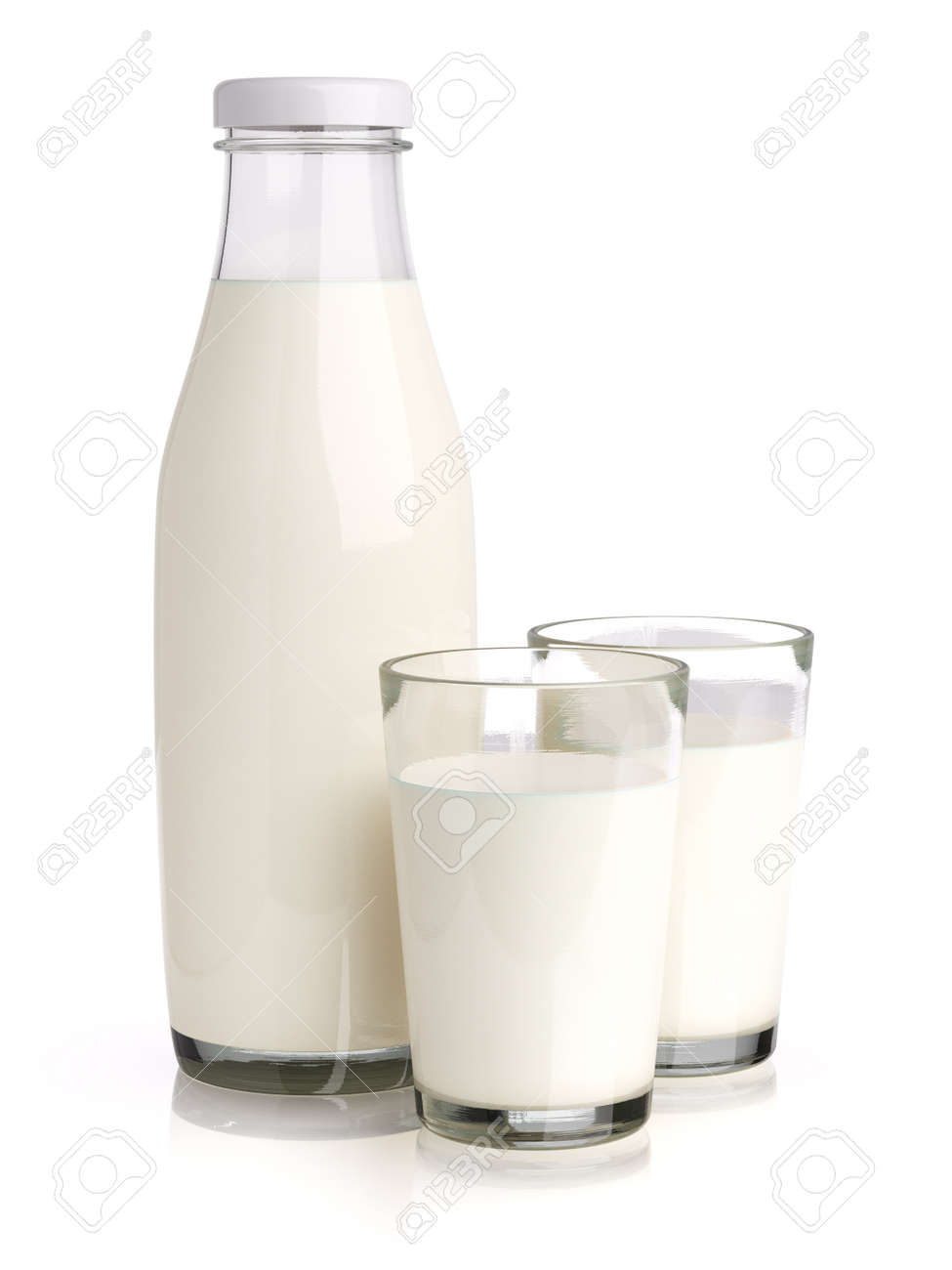 Three glass bottle with milk isolated on white background 3d render - 158497768