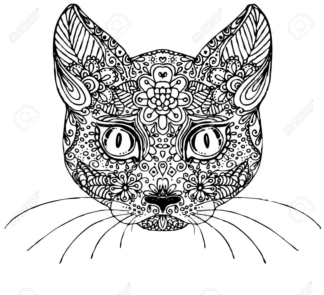 Hand Gezeichnet Doodle Katze. Skizze Für Erwachsene Anti-Stress ...
