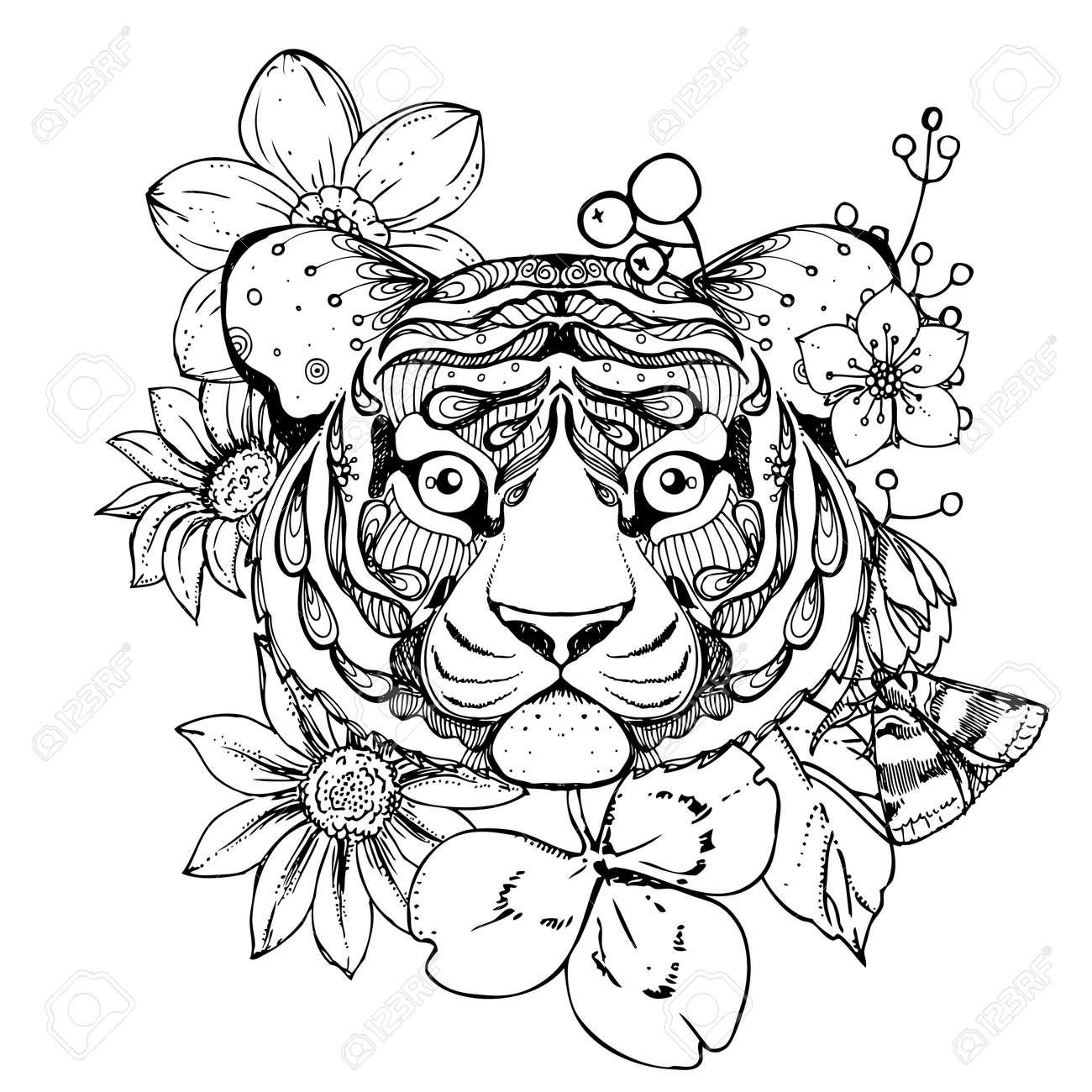 Hand Gezeichnet Tinte Doodle Tiger Und Blumen Auf Weißem Hintergrund