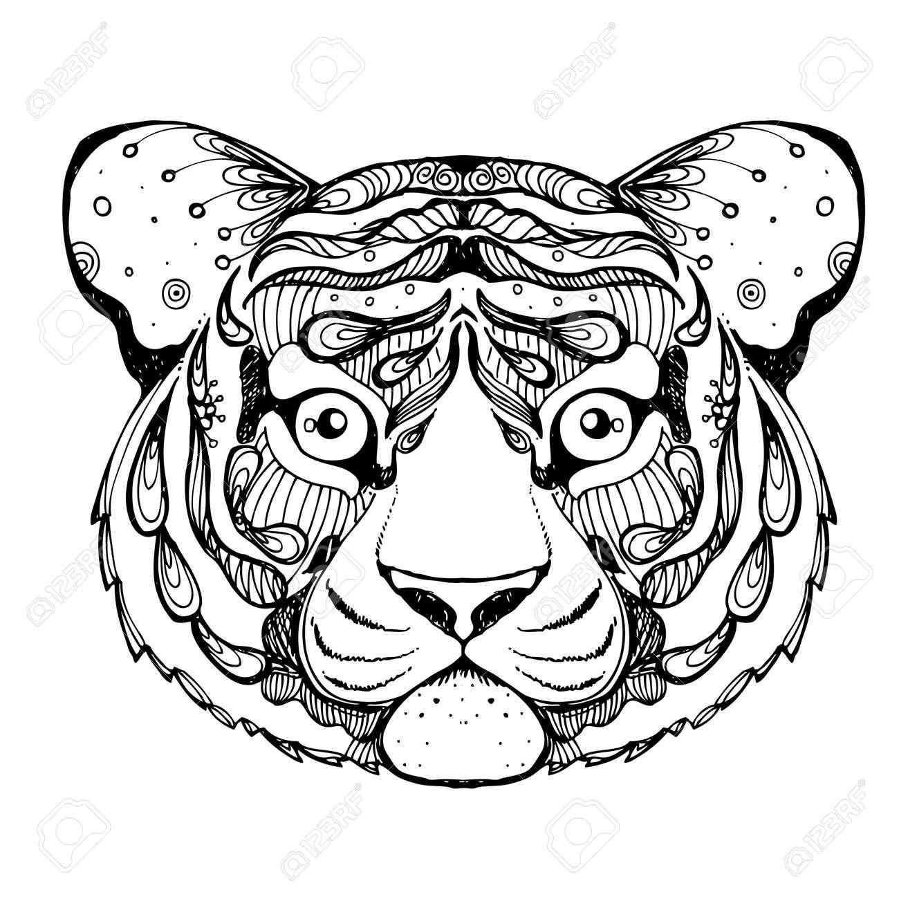 Dibujado A Mano Doodle De La Tinta Del Tigre En El Fondo Blanco ...