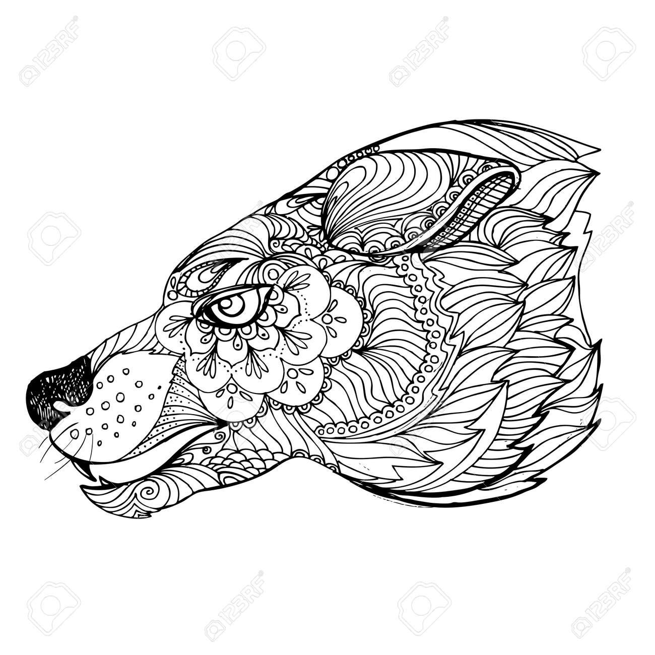 Dibujado A Mano Doodle De La Tinta Del Lobo En El Fondo Blanco ...