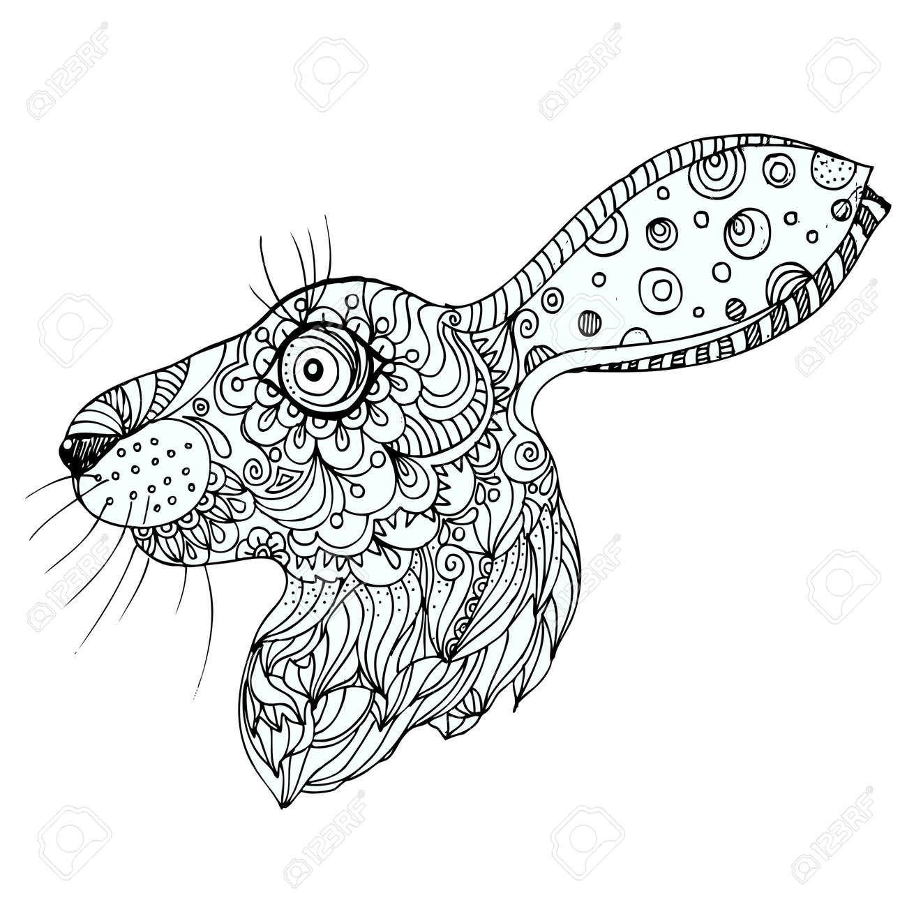 Hand Gezeichnet Tinte Doodle Kaninchen Auf Weißen Hintergrund ...