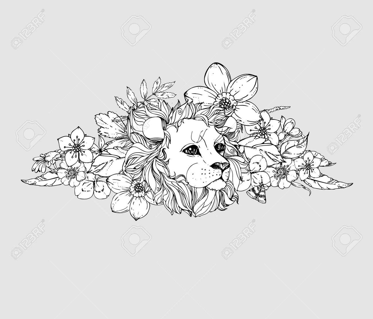 Hand Gezeichnet Tinte Doodle Löwe Auf Weißem Hintergrund