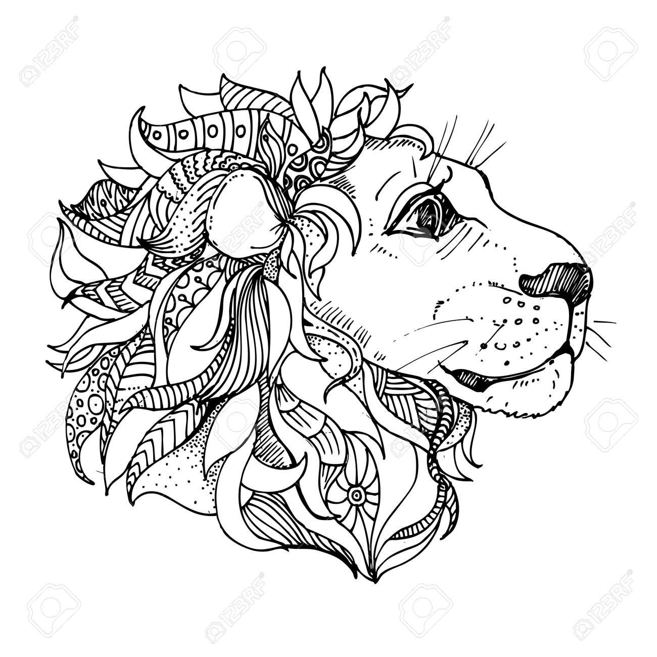 Tiré Par La Main Doodle D Encre Lion Sur Fond Blanc Coloriage Zendala La Conception Pour Les Adultes Affiche Impression T Shirt Invitation