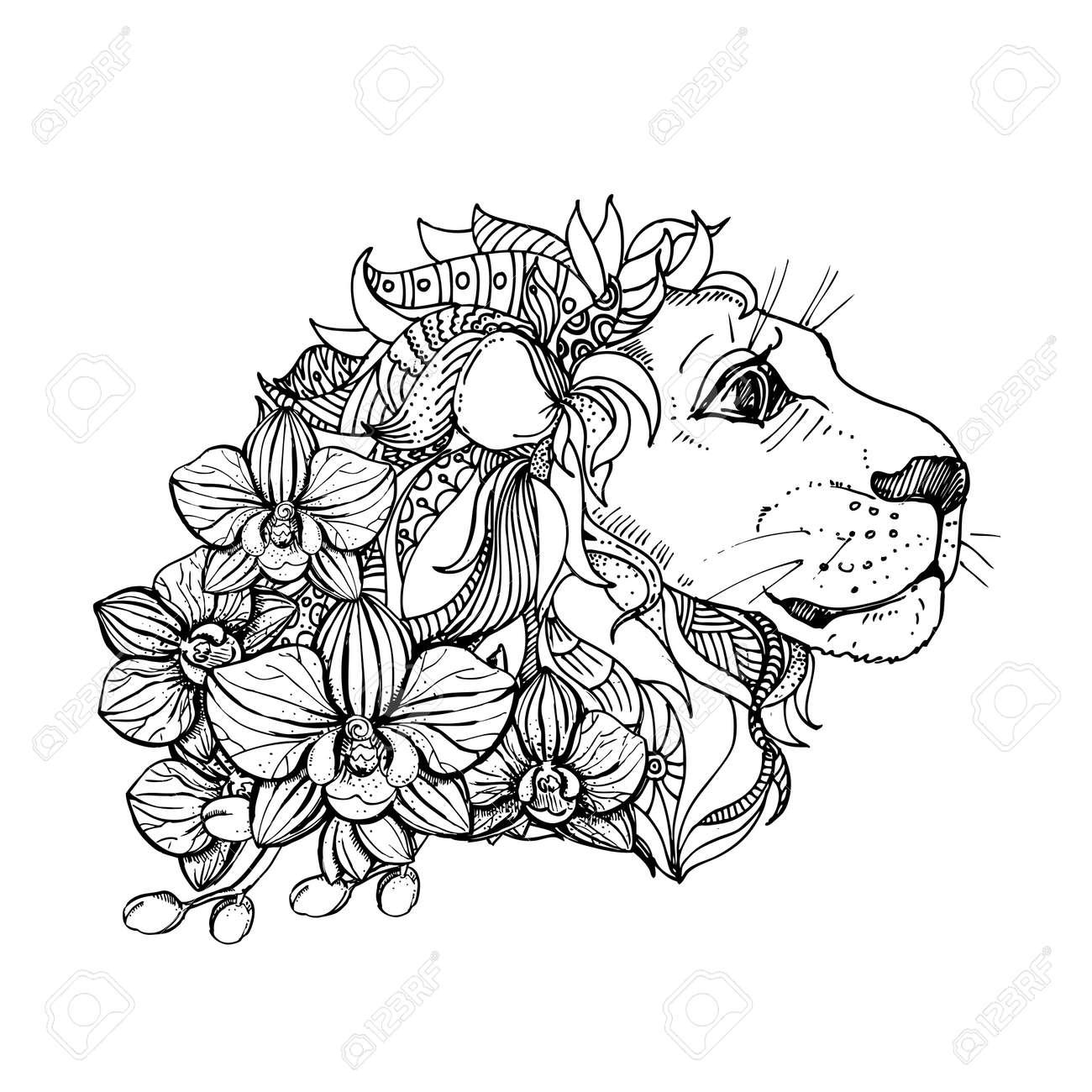 Hand Gezeichnet Tinte Doodle Löwe Und Orchidee Auf Weißem