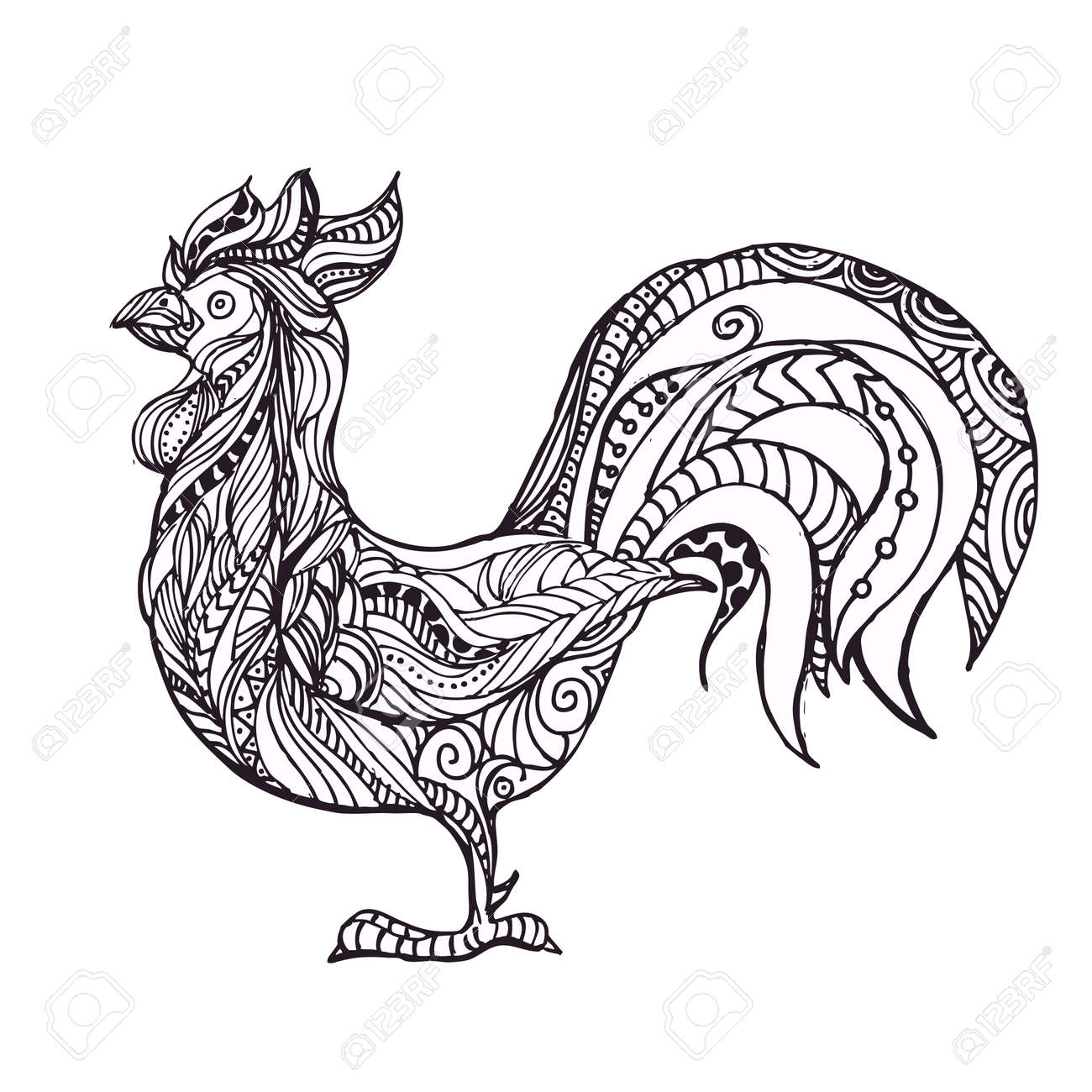 hand drawn black and white doodle birds rooster ethnic patterned
