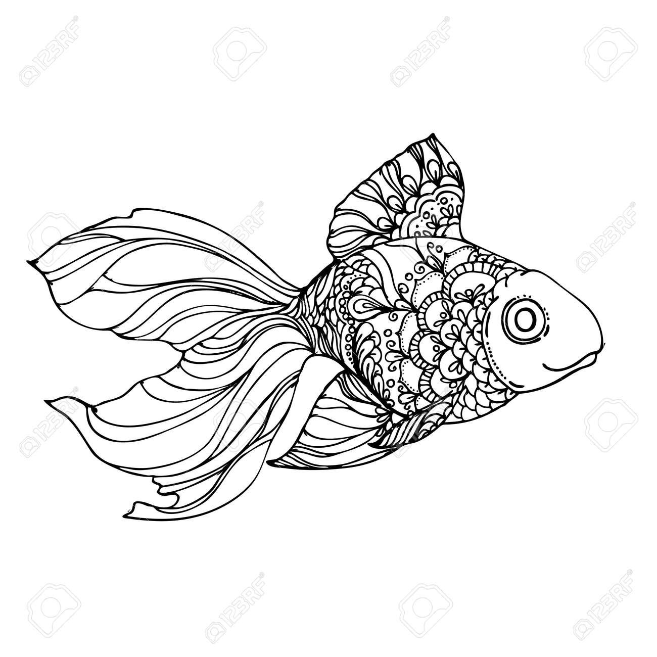 Hand Gezeichnet Tinte Goldenen Fisch Auf Weißem Hintergrund