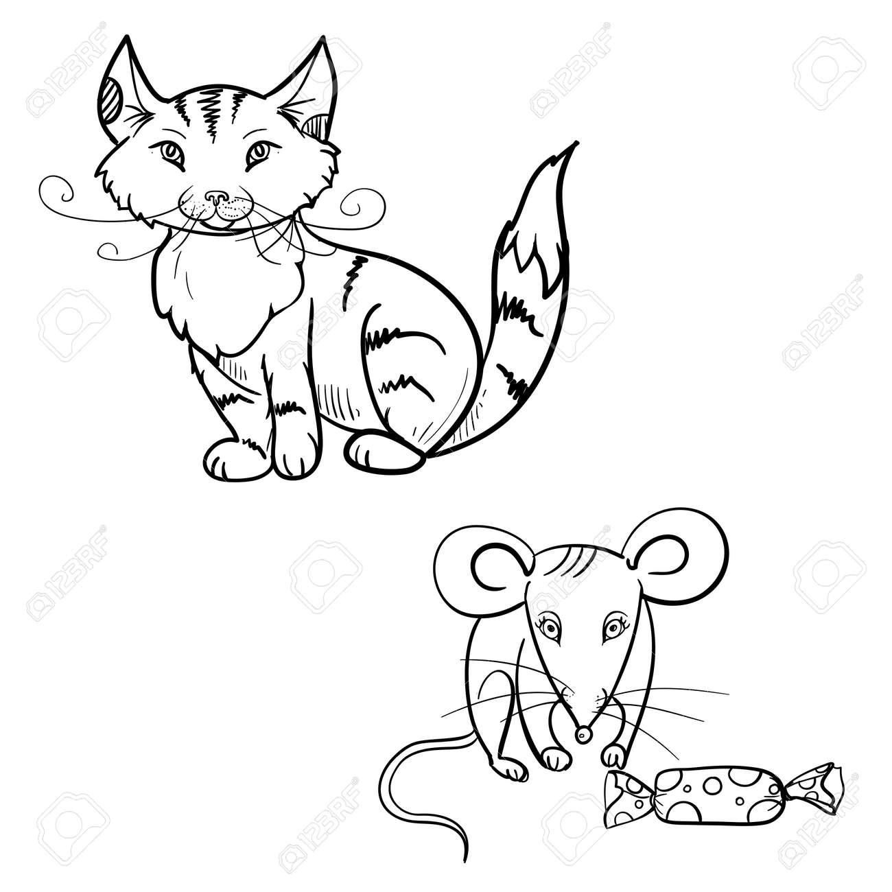 Dibujado A Mano Para Colorear Para Niños Vector De Gato, Ratón Con ...