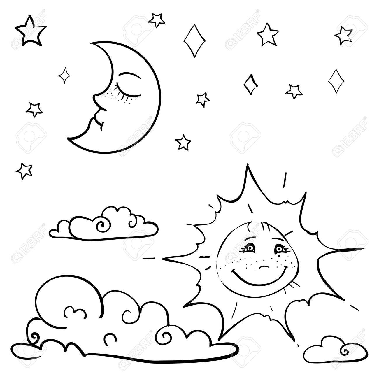 Dibujado A Mano Para Colorear Para Niños De Vectores Con La Luna Sol Nubes Estrellas Vector