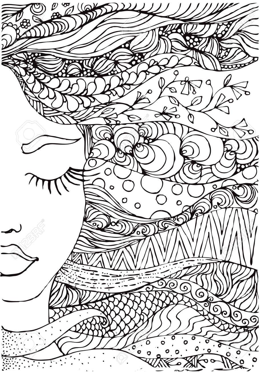 Hand Gezeichnet Tinte Doodle Womans Gesicht Und Fließenden Haaren