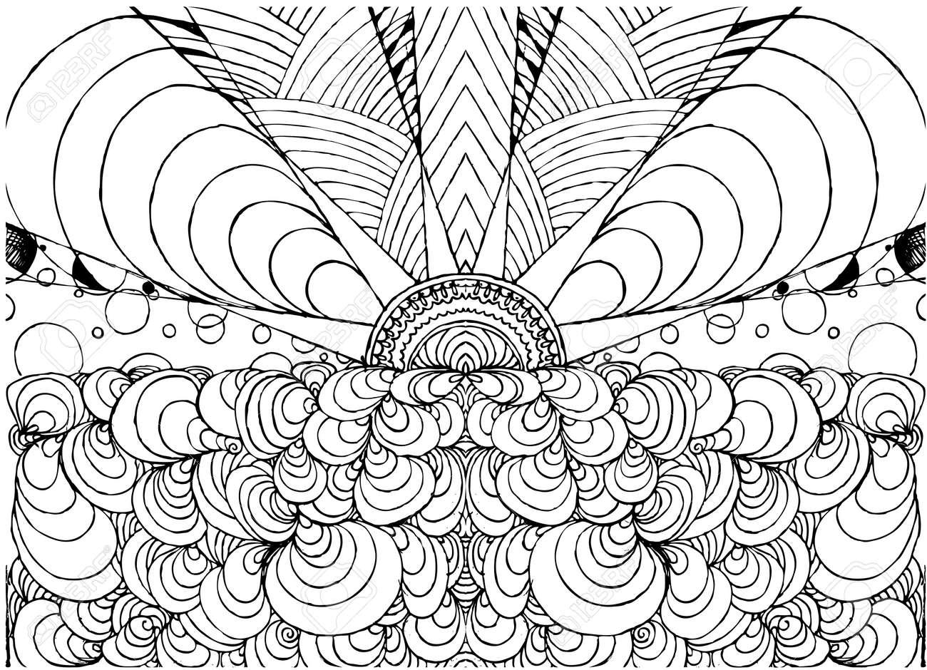 Hand Gezeichnet Tinte Doodle Sonne Und Meer Auf Weißem Hintergrund