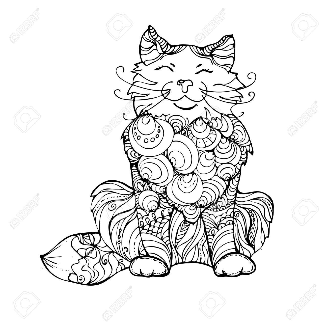 Hand Gezeichnet Tinte Doodle Katze Auf Weißem Hintergrund