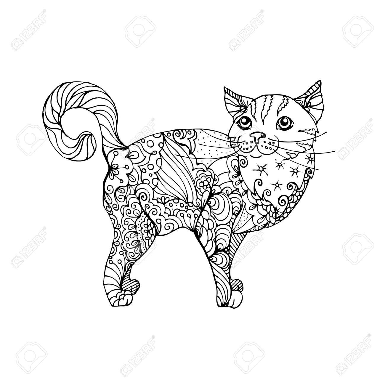 Ausmalbilder Erwachsene Katzen : Hand Gezeichnet Tinte Doodle Katze Auf Wei Em Hintergrund