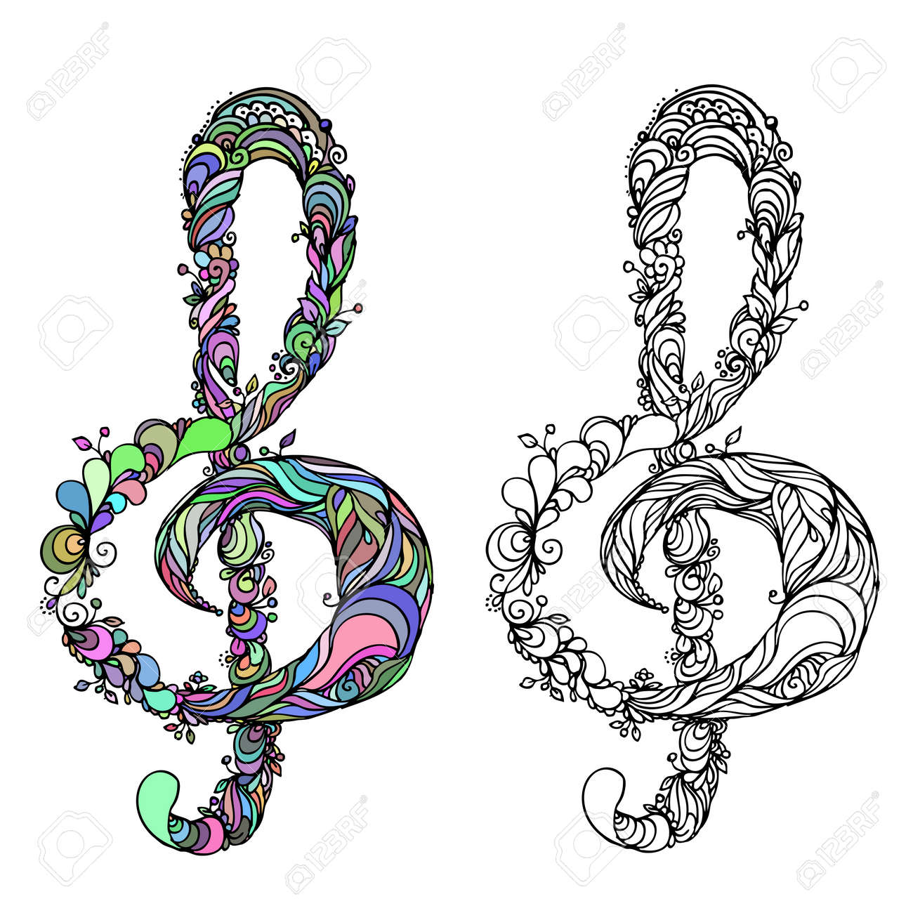 Hand Drawn Ink Doodle Treble Clef On White Background. Coloring ...