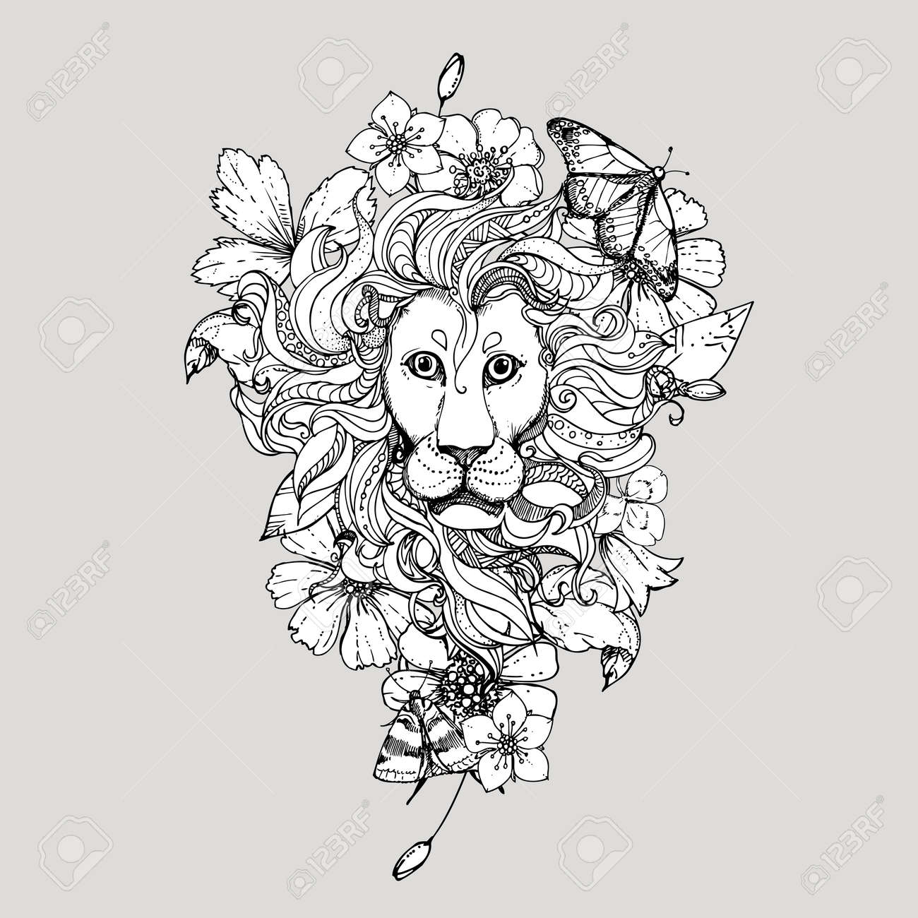 Illustration Of Doodle Lion With Flowers And Butterfly Sketch Stock Vector