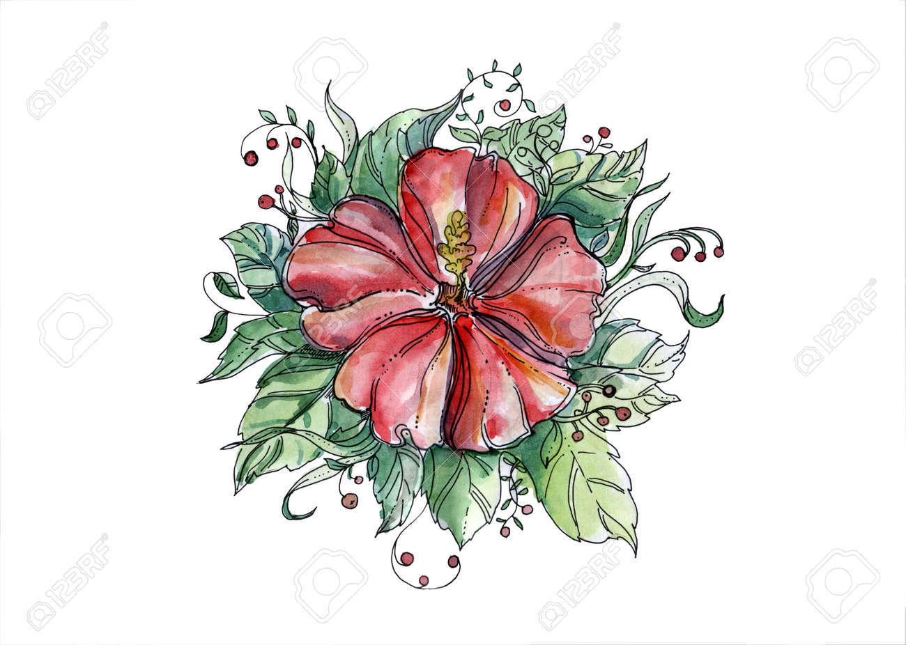 Red Hand Drawn Watercolor Floral Ornament With Hibiscus Flower
