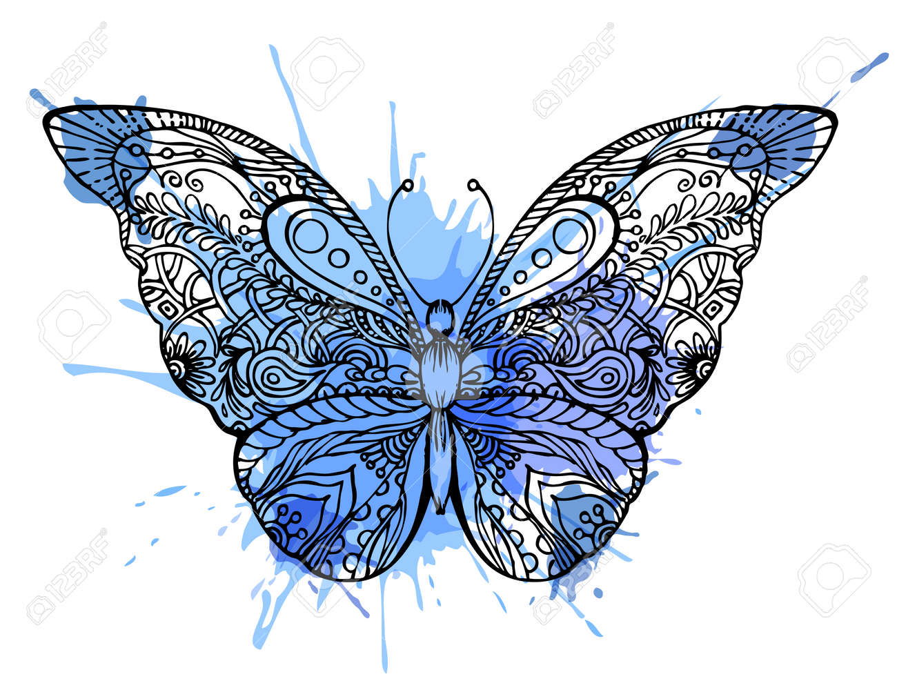Illustration of doodle butterfly sketch stock vector 64921872