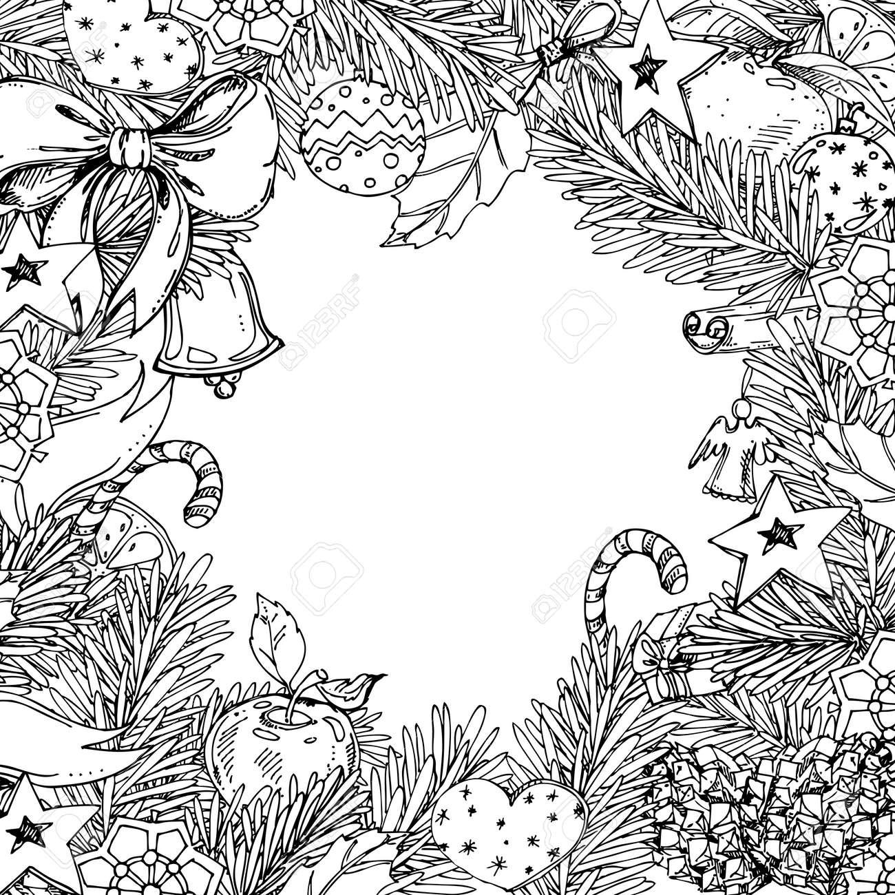 Cadre De Noel Et Nouvel An Pour Le Cahier De Coloriage Pour Adultes Et Enfants Motif Pour Livre De Coloriage Element Decoratif De Vecteur