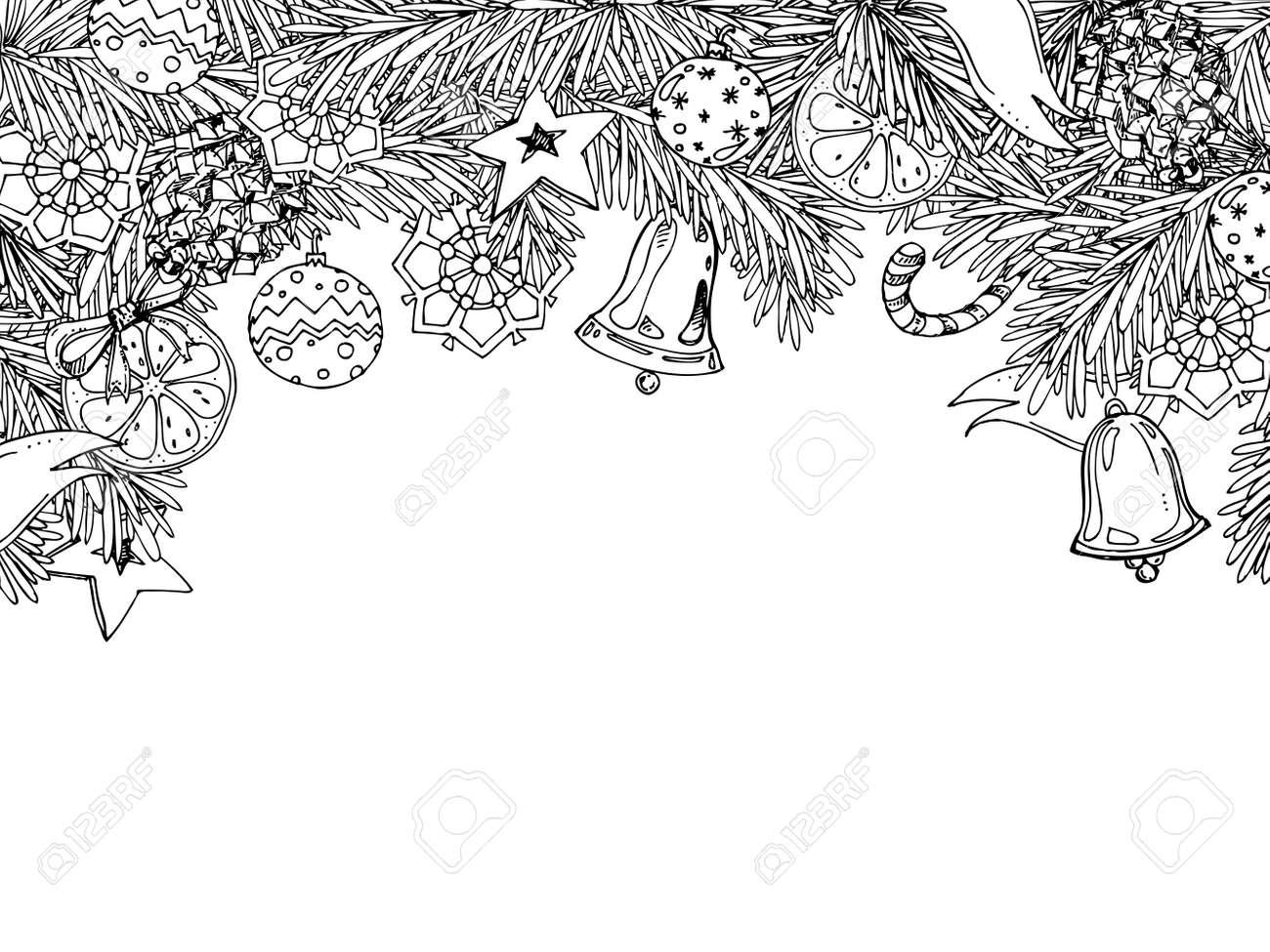 Marco Del Año Nuevo Y Navidad Para Colorear Para Adultos Y Niños ...