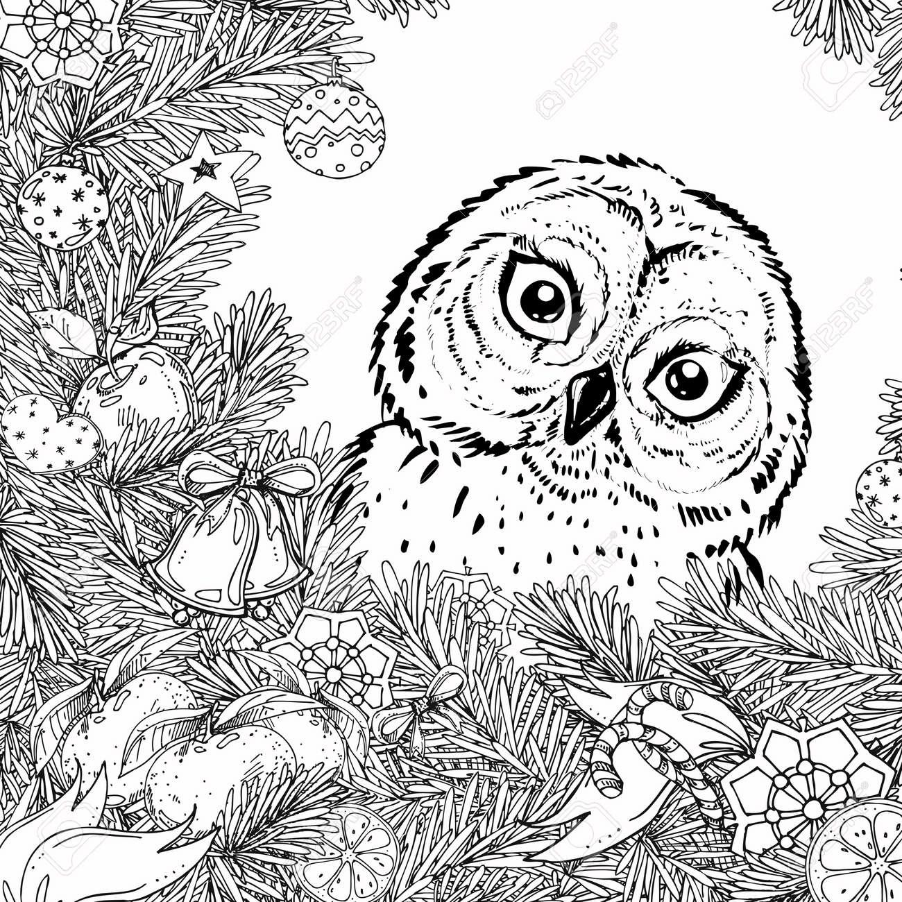Año Nuevo Y Marco De La Navidad Para El Libro Del Colorante Para El ...