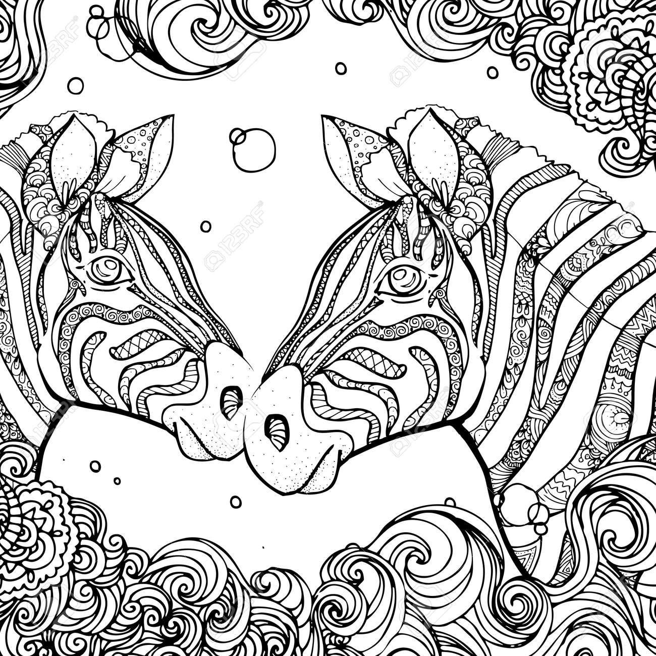 Hand Gezeichnet Tinte Doodle Zebra Und Welle Auf Weißem Hintergrund ...