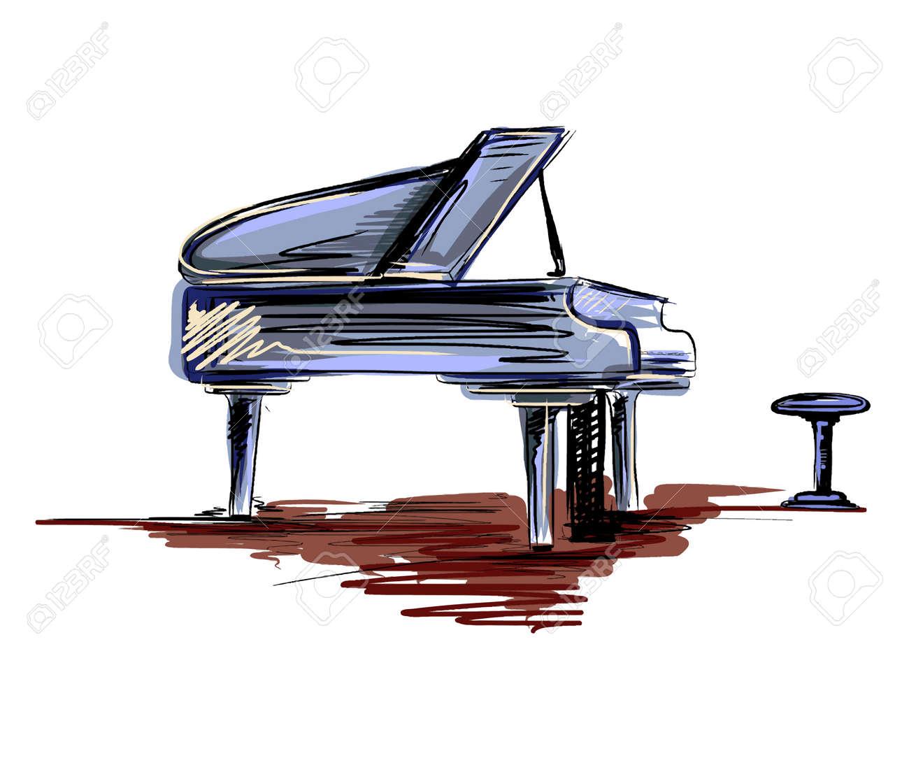 Piano sketch vector
