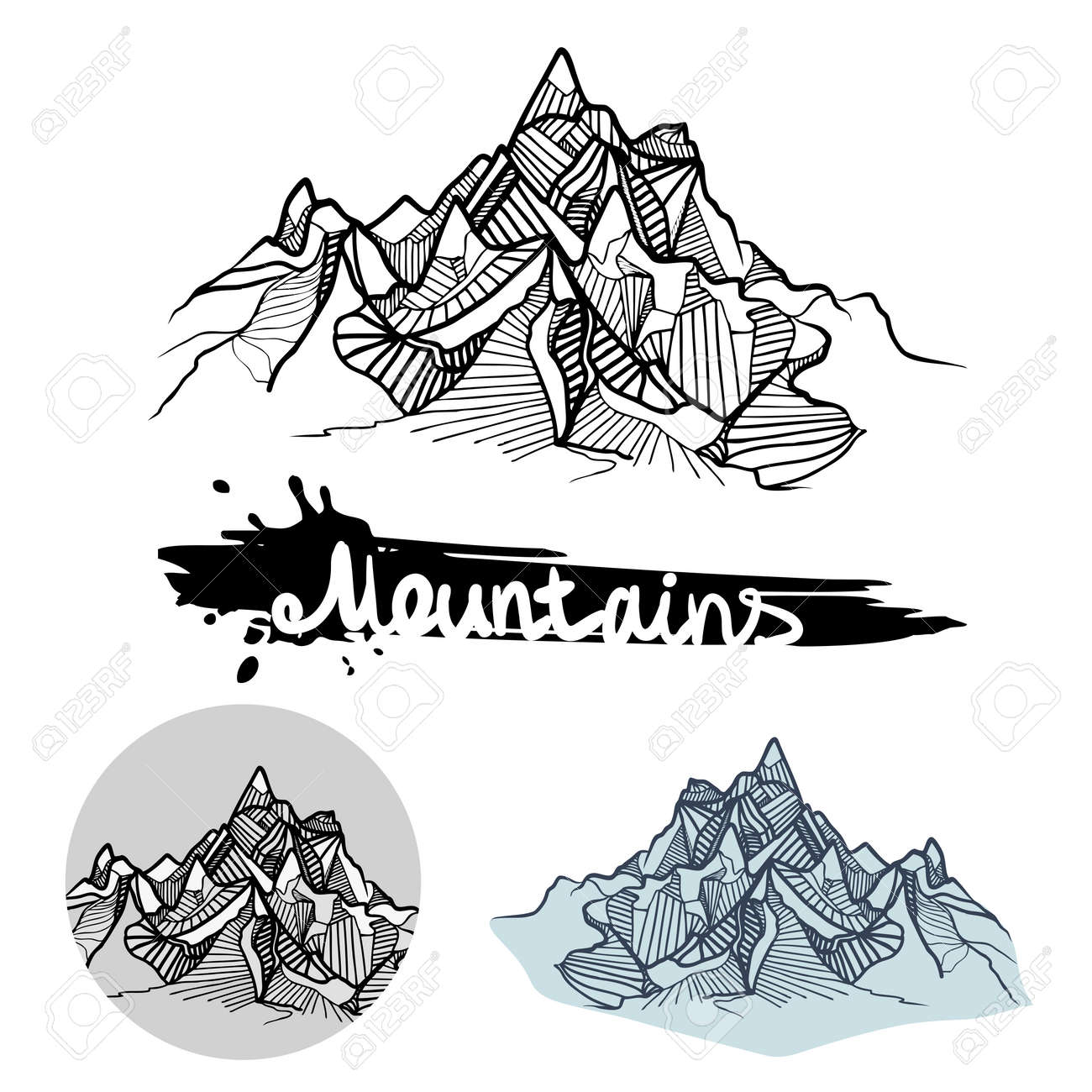モノクロとカラーの山の描かれたベクター イラスト セットを渡します
