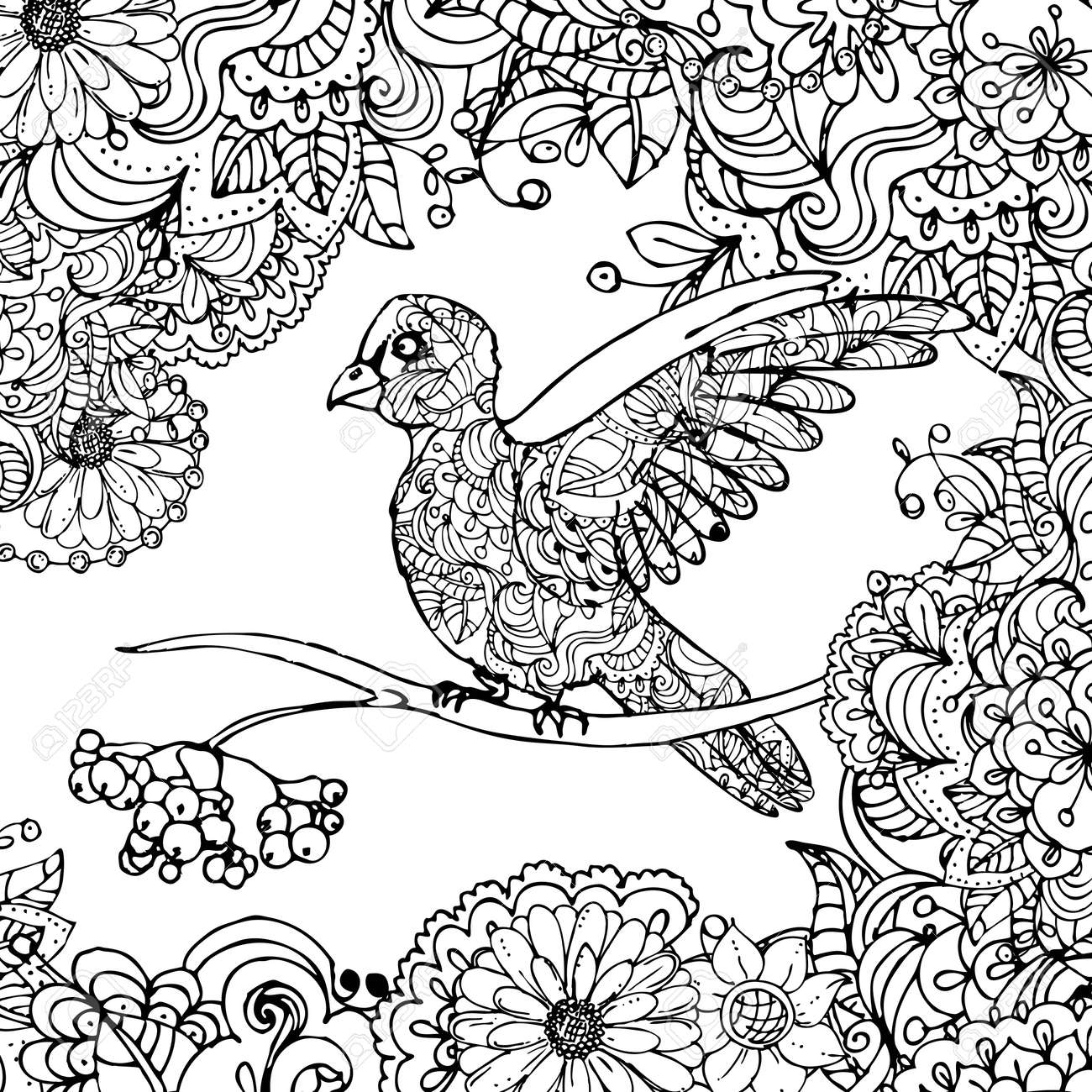 hand drawn vector illustration of doodle bird sitting on branch in leaves isolated on white background. - 156880324
