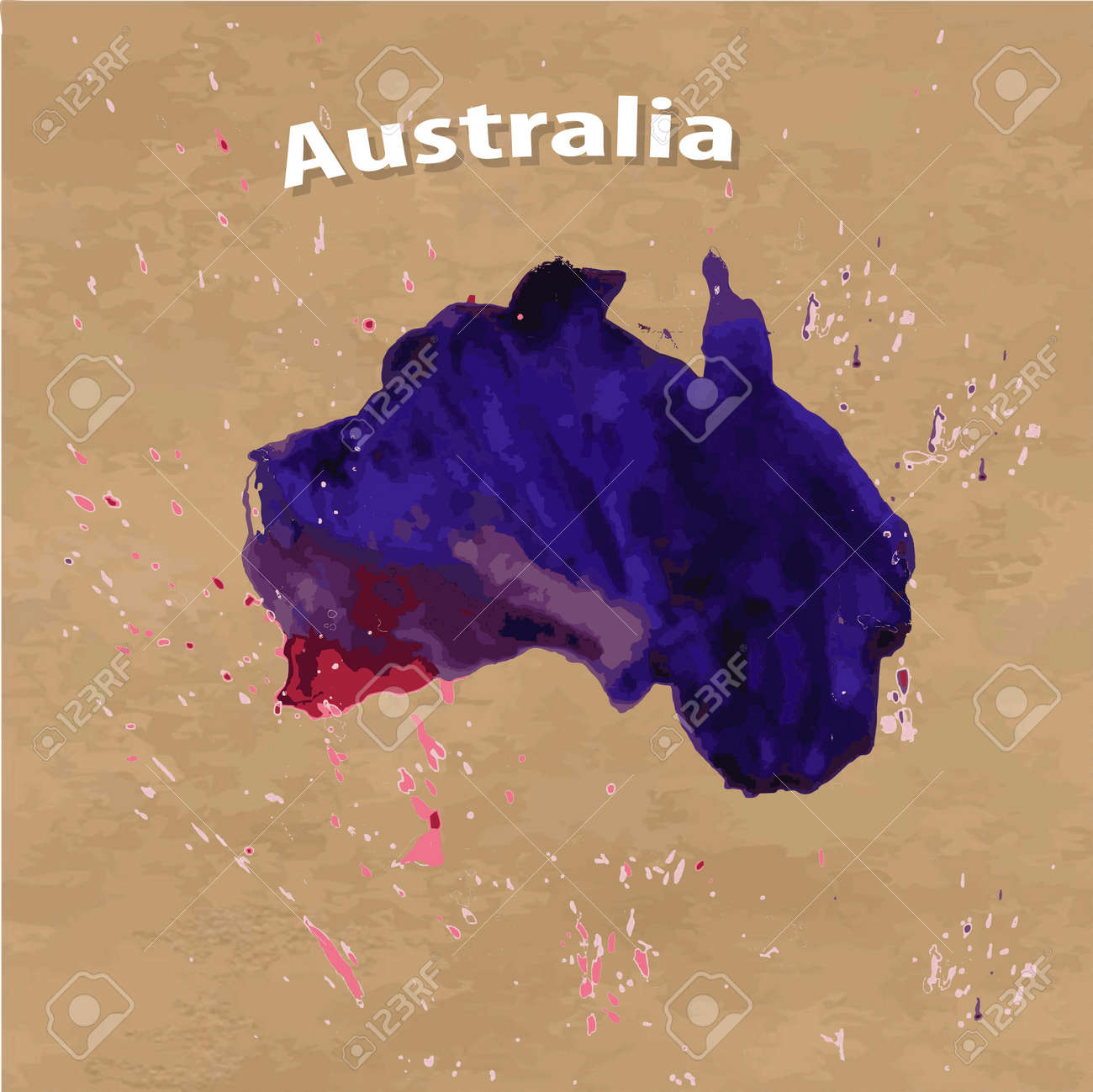 Vector watercolour map of australia on the brown kraft paper vector vector watercolour map of australia on the brown kraft paper background gumiabroncs Image collections