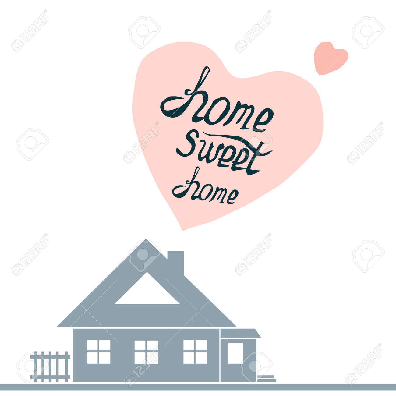 Home Sweet Home Vintage vintage cute illustration with hand-drawn lettering.home sweet
