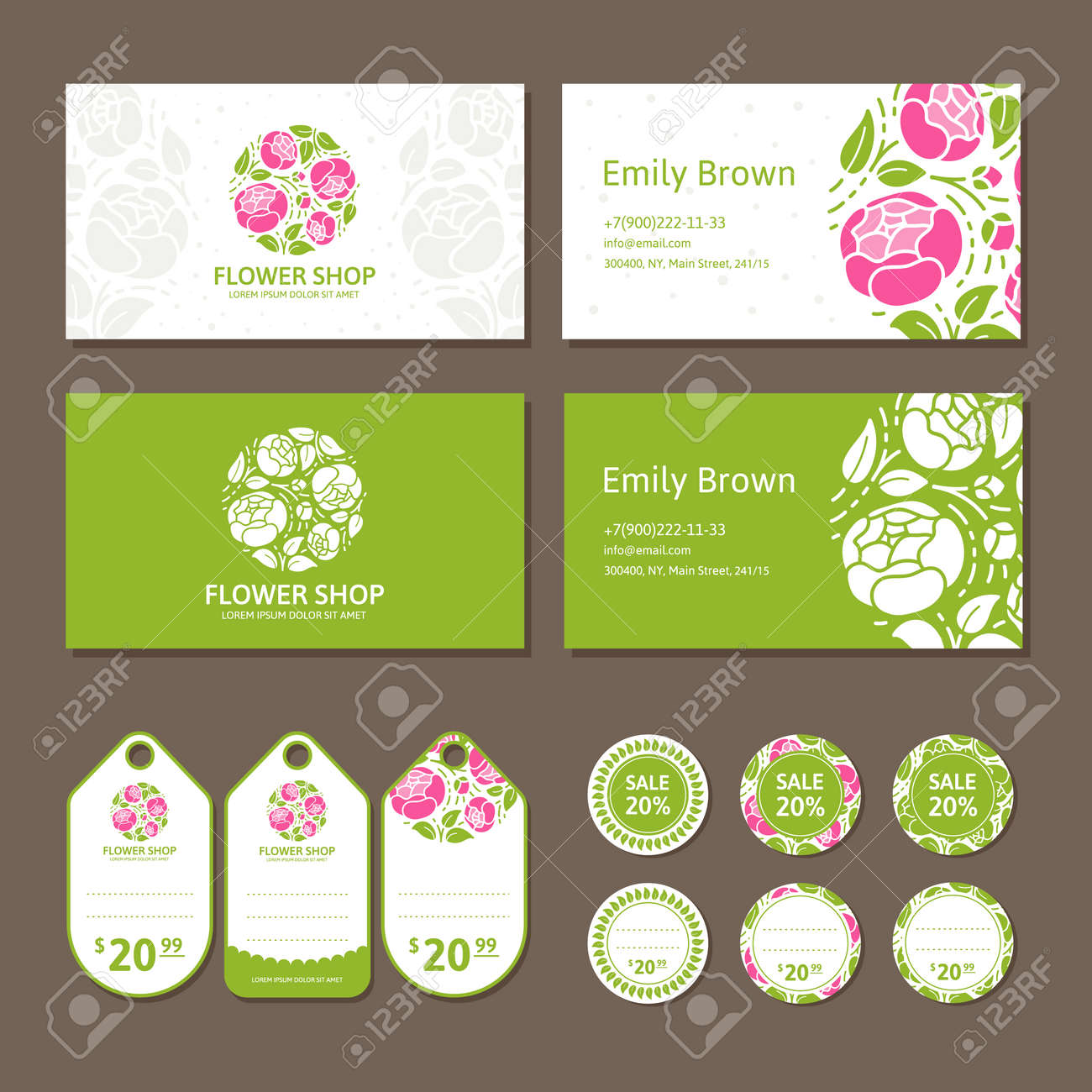Corporate Identity For A Flower Shop. Logo, Business Card And ...