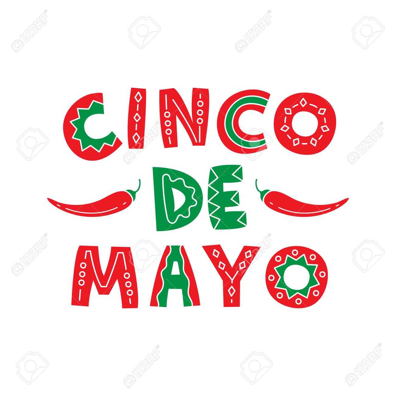 Diseño De Letras Dibujado Mano De Cinco De Mayo. Texto Coloreado Con ...