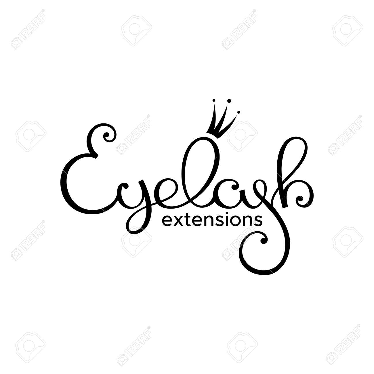 Eyelash extension logo. Style with a stylized hand-drawn lettering, calligraphy. - 89704253