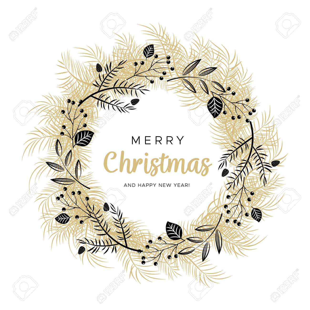 Gold Christmas Wreath.Christmas Wreath With Black And Gold Branches And Pine Cones