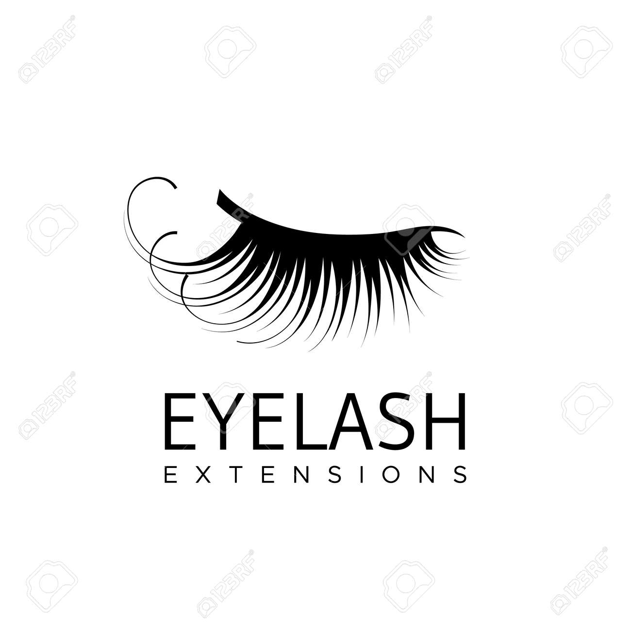 7547deae8ce Eyelash extension logo with closed eye with long lashes. Vector  illustration in a modern style