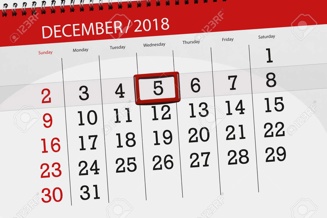 calendar planner for month december 2018 deadline day wednesday 5 stock photo