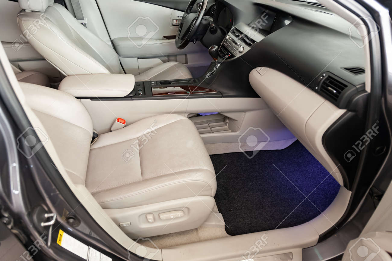 View to the black color interior of suv car with front seats,
