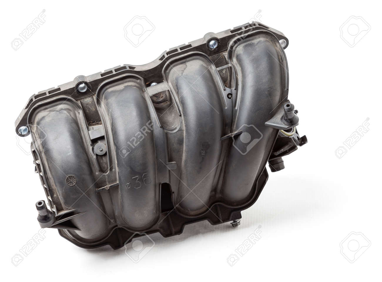 Intake manifold plastic housing with a system for adjusting the air flow to the engine. Repair and replacement of spare parts of vehicles in a car service. - 169051397