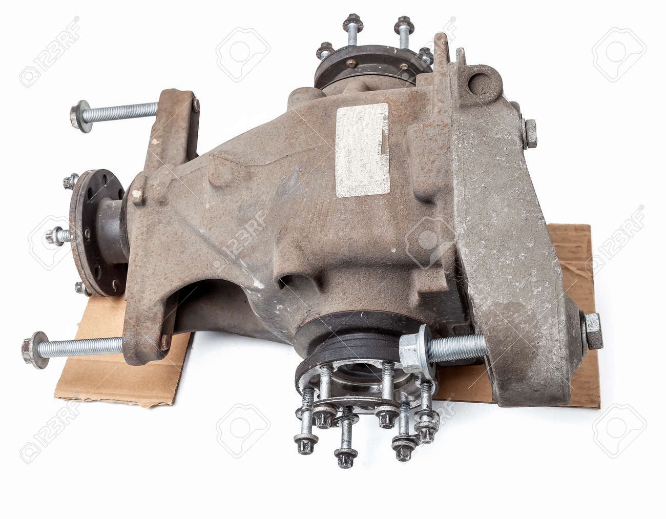 Gear reducer isolated on white. Gear Wheels speed reducer cross section. Auto service industry. Spare parts catalog. Auto service industry. Spare parts catalog. - 169387953