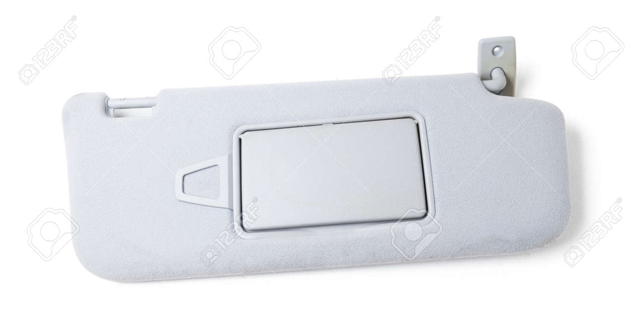 Car visor interior. auto gray sun visor with mirror on white isolated background. Auto service industry. Spare parts catalog. - 169387967