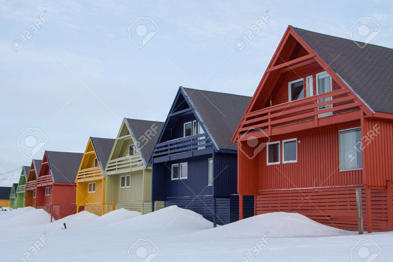 A city details of Longyearbyen - the most Northern settlement in the world. Spitsbergen Svalbard, Norway. - 53960572